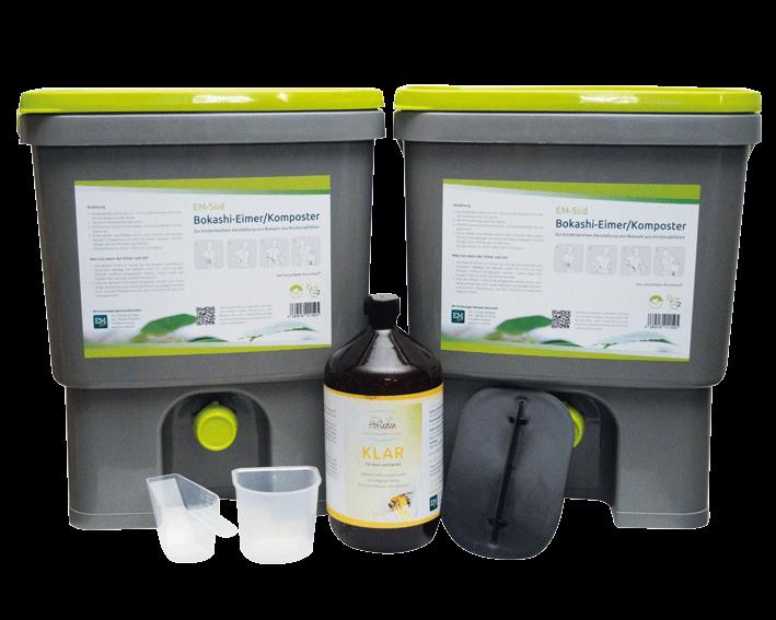 2x EM-Süd Bokashi-Eimer/Komposter plus 1 Liter KLAR, CO2-neutral aus reyceltem Kunstoff