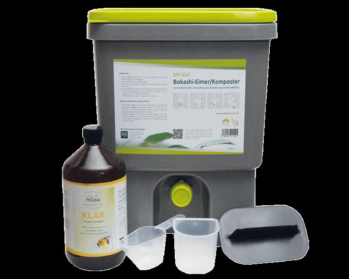 EM-Süd Bokashi-Eimer/Komposter plus 1 Liter KLAR, CO2-neutral aus reyceltem Kunstoff